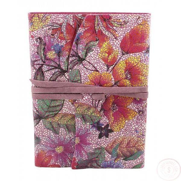Amalfi Leren Notitieboek Roze met Bloemen