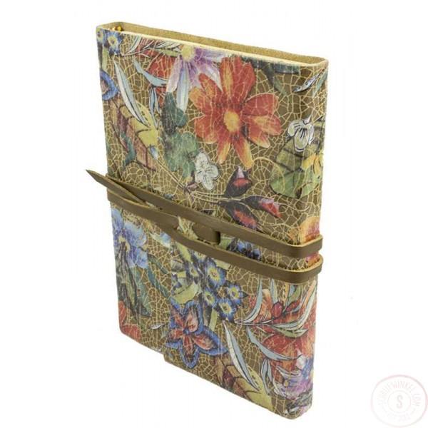 Amalfi Leren Notitieboek Goud met Bloemen