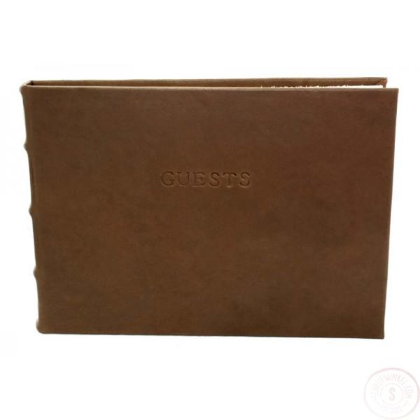 Alba Leren Gastenboek Chocoladebruin