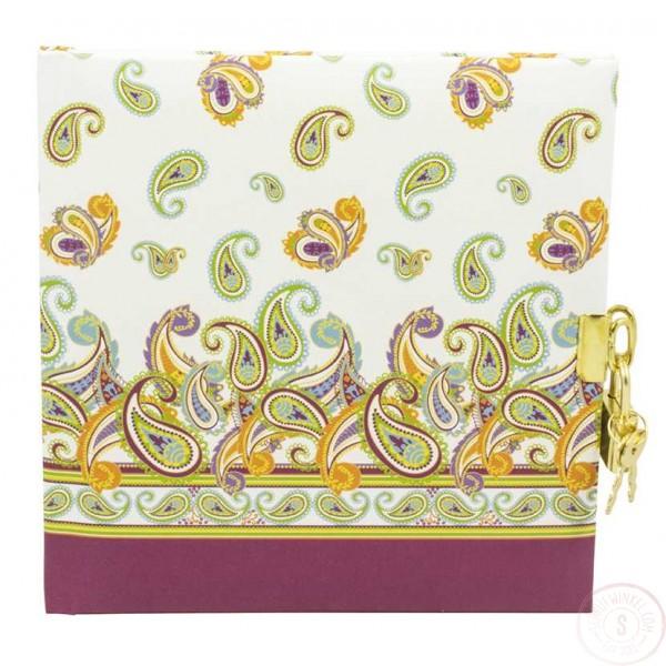 Dagboek met Slot Paisly Paars Blanco
