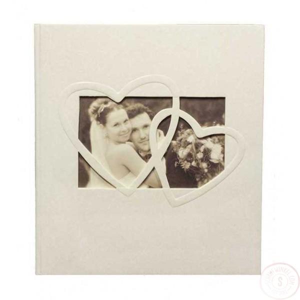 Wit Gastenboek Bruiloft met Harten en Foto