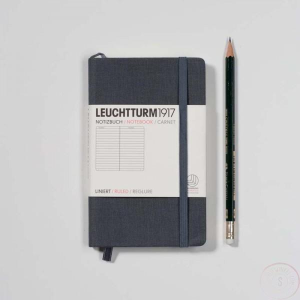 Leuchtturm1917 Pocket Notitieboek Linnen Gelinieerd Grijs