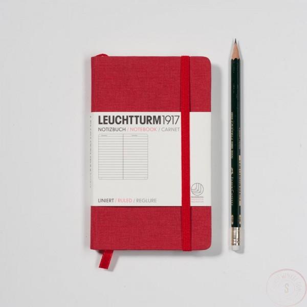 Leuchtturm1917 Pocket Notitieboek Linnen Gelinieerd Rood