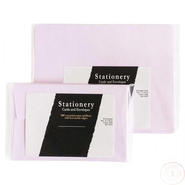 Luxe handgeschept briefpapier en enveloppen Roze