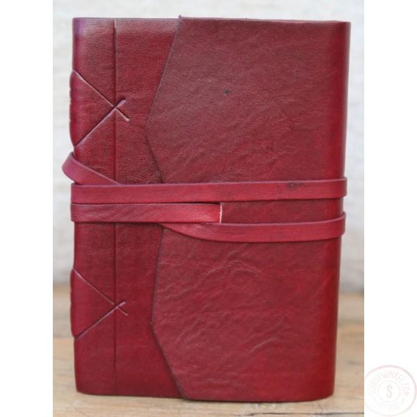 Modena Leren Notitieboek Bordeaux Met Handgeschept Papier A6-