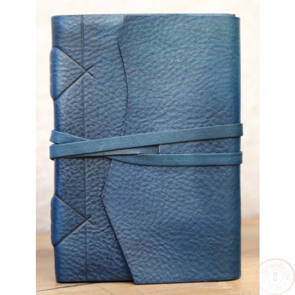 Modena Leren Notitieboek Blauw Met Handgeschept Papier A6-