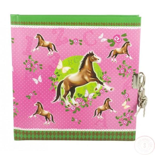 Paardendagboek Met Slot Roze Blanco