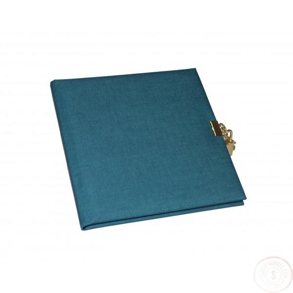 Linnen Dagboek Met Slot Staalblauw Blanco