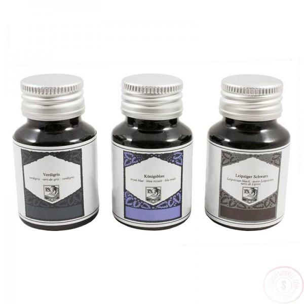 Vulpen- en Kalligrafie Inkt Zwart, Zwart-Blauw en Jeansblauw