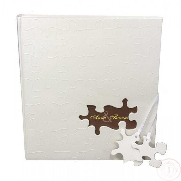 Wit Fotoalbum Bruiloft met Puzzelstukjes