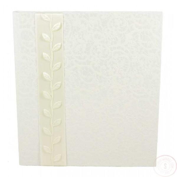 Wit Gastenboek Bruiloft met Lint en Blaadjes
