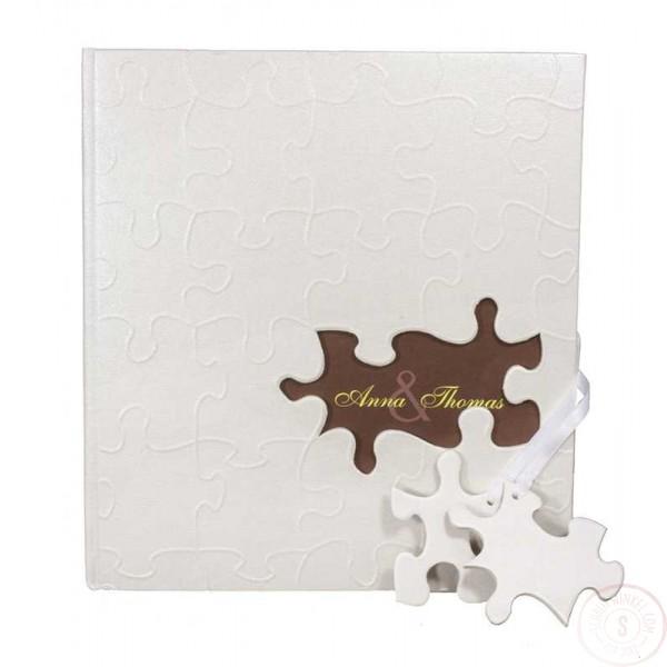 Wit Gastenboek Bruiloft met Puzzelstukjes