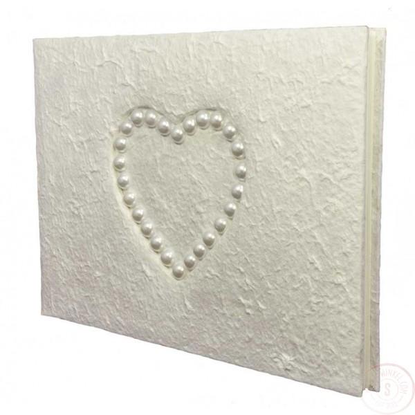 Wit Gastenboek met Hartje van Kralen
