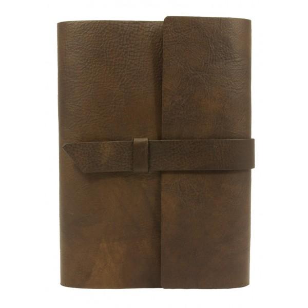 Capri Hervulbaar Leren Notitieboek Groot Chocoladebruin