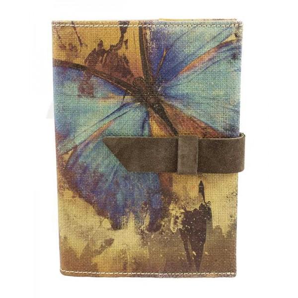Navulbaar Linnen Notitieboek met Vlinders