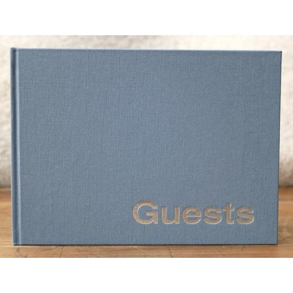 Linnen Gastenboek Blanco Antraciet