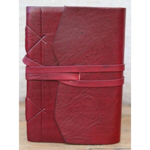 Modena Leren Notitieboek Bordeaux Met Handgeschept Papier