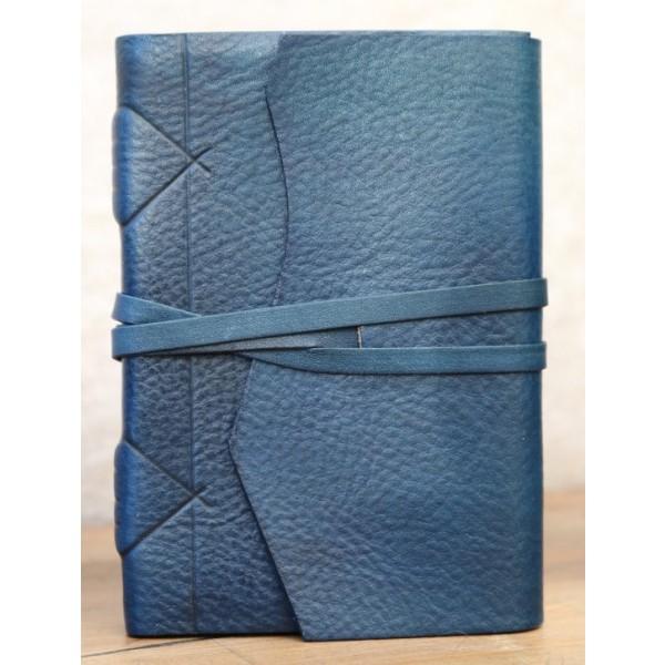 Modena Leren Notitieboek Blauw Met Handgeschept Papier