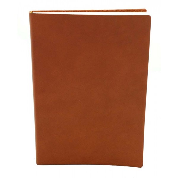 Sorrento Leren Notitieboek Middelgroot Cognac