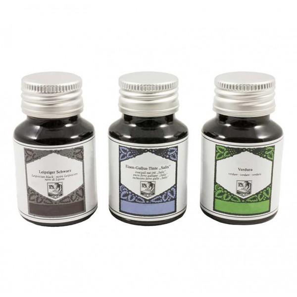 Vulpen- en Kalligrafieinkt 50 ml Grasgroen, Oudblauw en Zwart