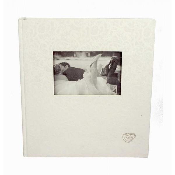 Wit Fotoalbum Bruiloft met Foto en Trouwringen