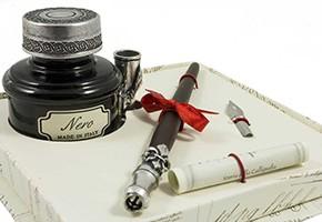 Kalligrafie set van de maand: Legno kroontjespen met inktpot